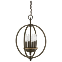 Perry 4 Light 13 inch Bronze and Oak Pendant Ceiling Light