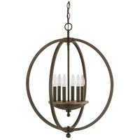 Perry 6 Light 23 inch Bronze and Oak Pendant Ceiling Light