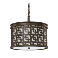 Capital Lighting Jasper 3 Light Pendant in Burnished Bronze with White Fabric Shade 4873BB-620
