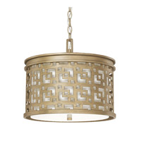 Capital Lighting Jasper 3 Light Pendant in Brushed Gold with White Fabric Shade 4873BG-620