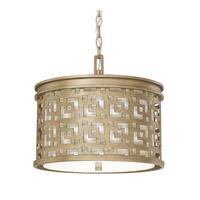 Capital Lighting Jasper 3 Light Pendant in Brushed Gold with White Fabric Shade 4873BG-620