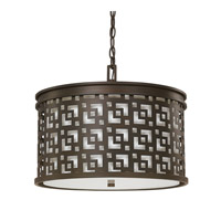 Capital Lighting Jasper 3 Light Pendant in Burnished Bronze with White Fabric Shade 4874BB-631