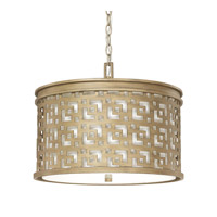 Capital Lighting Jasper 3 Light Pendant in Brushed Gold with White Fabric Shade 4874BG-631