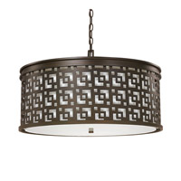 Capital Lighting Jasper 5 Light Pendant in Burnished Bronze with White Fabric Shade 4876BB-643