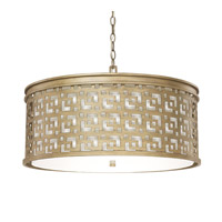 Capital Lighting Jasper 5 Light Pendant in Brushed Gold with White Fabric Shade 4876BG-643