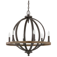 Capital Lighting Brayden 6 Light Pendant in Iron and Oak 4906IA