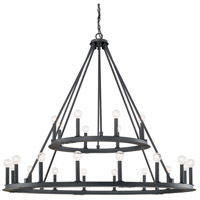 Pearson 24 Light 48 inch Black Iron Chandelier Ceiling Light