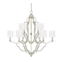 Capital Lighting Blair 10 Light Chandelier in Antique Silver with White Fabric Stay-Straight Shades 4940AS-632