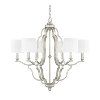 Capital Lighting Blair 6 Light Chandelier in Antique Silver with White Fabric Stay-Straight Shades 4946AS-632