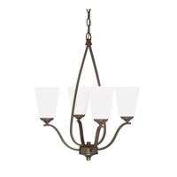 Capital Lighting Braxton 4 Light Chandelier in Burnished Bronze with Soft White Glass 4954BB-122