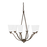 Capital Lighting Braxton 6 Light Chandelier in Burnished Bronze with Soft White Glass 4956BB-122