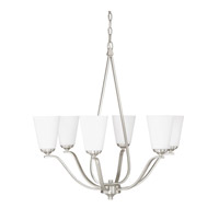 Capital Lighting Braxton 6 Light Chandelier in Brushed Nickel with Soft White Glass 4956BN-122