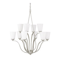 Capital Lighting Braxton 10 Light Chandelier in Brushed Nickel with Soft White Glass 4959BN-122
