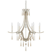 Capital Lighting Berkeley 6 Light Chandelier in Winter Gold with Metal and Crystal Adornments 4966WG-000