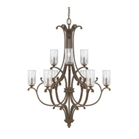 Capital Lighting Harrison 10 Light Chandelier in Mottled Brown with Clear Seeded Glass 4970MT-239