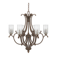 Capital Lighting Harrison 6 Light Chandelier in Mottled Brown with Clear Seeded Glass 4976MT-239