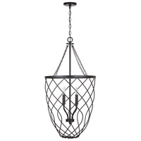Matte Black Metal Foyer Pendants