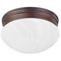 Capital Lighting Signature 1 Light Flush Mount in Burnished Bronze with White Faux Alabaster Glass 5676BB