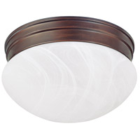 Capital Lighting Signature 2 Light Flush Mount in Burnished Bronze with White Faux Alabaster Glass 5678BB