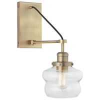 Aged Brass Glass Signature Wall Sconces