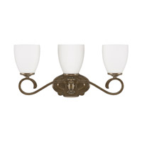 Capital Lighting Avignon 3 Light Vanity in French Brown with Soft White Glass 8083FB-238
