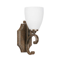 Capital Lighting Harrison 1 Light Sconce in Mottled Brown with Misty White Glass 8091MT-217