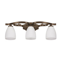 Capital Lighting Harrison 3 Light Vanity in Mottled Brown with Misty White Glass 8093MT-217