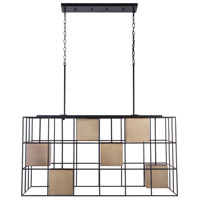 Capital Lighting 830961AB Paxton 6 Light 43 inch Aged Brass and Black Island Ceiling Light
