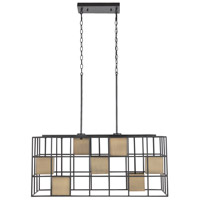 Capital Lighting 830971AB Paxton 7 Light 35 inch Aged Brass and Black Island Ceiling Light