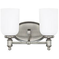 Capital Lighting Covington 2 Light Vanity in Antique Nickel with Soft White Glass 8442AN-102