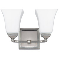 Capital Lighting Signature 2 Light Vanity in Polished Nickel with Soft White Glass 8452PN-119