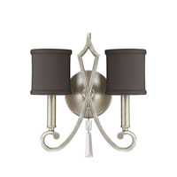 Capital Lighting Elan 2 Light Sconce in Brushed Silver with Crystals 8462BS-533-CR