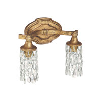 Blakely 2 Light 12 inch Antique Gold Vanity Wall Light in Clear Crystal