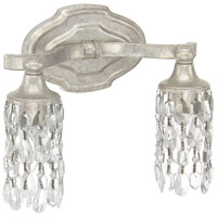 Blakely 2 Light 12 inch Antique Silver Vanity Wall Light in Clear Crystal