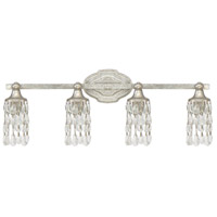 Blakely 4 Light 30 inch Antique Silver Vanity Wall Light in Clear Crystal