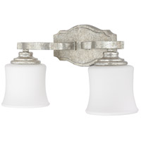 Capital Lighting Blair 2 Light Vanity in Antique Silver with Soft White Glass 8552AS-299
