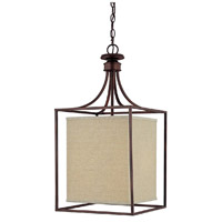 Midtown 2 Light 14 inch Burnished Bronze Foyer Ceiling Light in Light Tan Fabric Shade