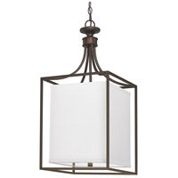 Midtown 2 Light 14 inch Burnished Bronze Foyer Ceiling Light in White Fabric Shade
