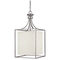 Midtown 2 Light 14 inch Matte Nickel Foyer Ceiling Light in White Fabric Shade