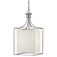 Midtown 2 Light 14 inch Polished Nickel Foyer Ceiling Light in White Fabric Shade