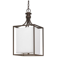 Midtown 2 Light 11 inch Burnished Bronze Foyer Ceiling Light in White Fabric Shade