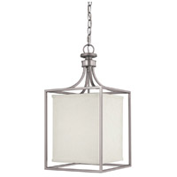 Midtown 2 Light 11 inch Matte Nickel Foyer Ceiling Light in White Fabric Shade