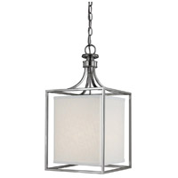 Midtown 2 Light 11 inch Polished Nickel Foyer Ceiling Light in White Fabric Shade