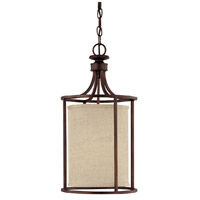 Midtown 2 Light 11 inch Burnished Bronze Foyer Ceiling Light in Light Tan Fabric Shade
