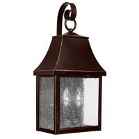 Capital Lighting Collins Hill 2 Light Outdoor Wall Lantern in New Bronze with Seeded Glass 9062NB