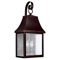 Capital Lighting Collins Hill 3 Light Outdoor Wall Lantern in New Bronze with Seeded Glass 9063NB