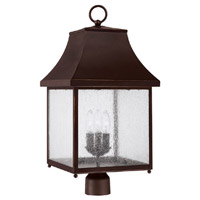 Capital Lighting Collins Hill 3 Light Outdoor Post Lantern in New Bronze with Seeded Glass 9066NB