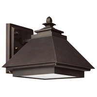Capital Lighting Signature 1 Light Outdoor Wall Lantern in Burnished Bronze with Acid-Washed Glass Lens 9092BB