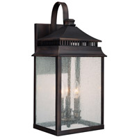 Capital Lighting Sutter Creek 3 Light Outdoor Wall Lantern in Old Bronze with Seeded Glass 9113OB photo thumbnail