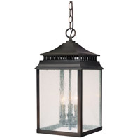 Capital Lighting Sutter Creek 3 Light Outdoor Hanging Lantern in Old Bronze with Seeded Glass 9116OB photo thumbnail